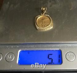 1/10 Oz 22k Fine Gold Lady Liberty Coin Bullion 14k Fancy Bezel Pendant 2008 Ex