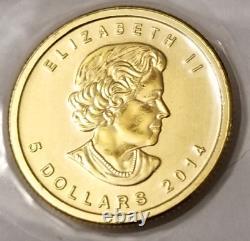 1/10 oz Canadian Gold Maple Leaf $5 Coin. 9999 Fine BU (Sealed) random year