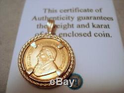 1/10 oz Fine Gold 2000 Krugerrand Gold Coin in 14K Bezel Pendant