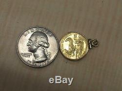 1/10 oz Fine Gold Eagle Mini Coin US Uncirculated on 14k Pendant
