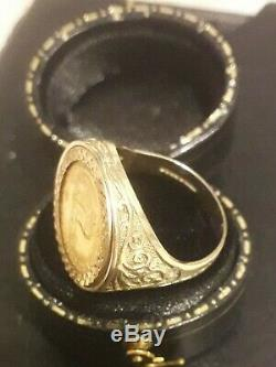 1/10 oz Krugerrand Fine Gold coin mounted Mens Hallmarked 9ct Gold Ring Size P