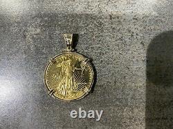 1/2 Oz 22k Fine Gold American Eagle MCMXCp Gold Coin Pendant With14k Solid Frame