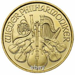 1/25 oz 999.9 Fine Gold Bullion Austrian Gold Philharmonic Coin 2017 (BU)
