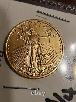 1/4 Oz. 999 Fine Gold Uncirculated 2011 Golden Eagle 10 Dollars