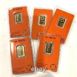 1- 5 Gram 999.9 Fine Gold Valcambi Suisse Gold Bar, See Other Gold, Coins
