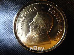 1 OZ fine pure Gold Krugerrand Coin 14K Pendant Necklace, 22''14K rope chain Set