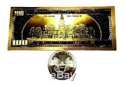 1 Troy Ounce. 999 Fine 2016 American Silver Eagle Bu + 99.9% 24k Gold $100 Bill