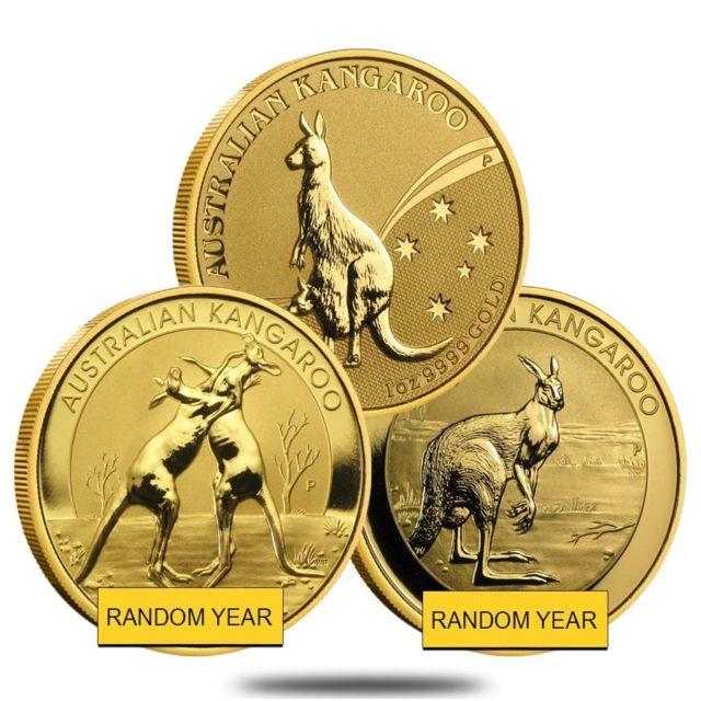 1 Oz Australian Kangaroo/nugget Gold Coin. 9999 Fine (random Year)