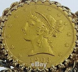 $10+$5+$2.50US Gold Indian Bracelet 5 Gold COINS 22K Weight is 73.3 GramsWOW