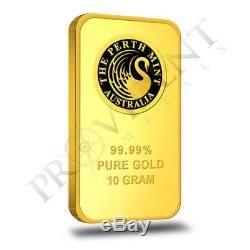 10 Gram Perth Mint. 9999 Fine Gold Bar Sealed in Assay Card