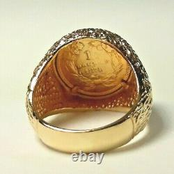 14 Karat Yellow Gold Mens Coin Ring Vintage Us Coin 1874 Size 8 11.1 Gr