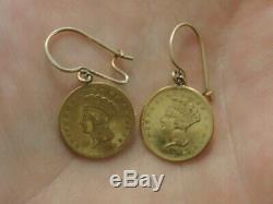 14K 1856 $1 One Dollar Liberty Head Coin Earrings Yellow Gold #1607
