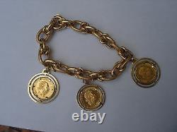 14K GOLD FANCY LINK 3Pc 1915 FRANC HVNGAR BOHEM AUSTRIA COIN CHARM BRACELET SET