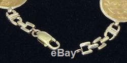 14K Solid Gold Bracelet Alternating 4 British King Edward VII 22k Gold Coins 8L