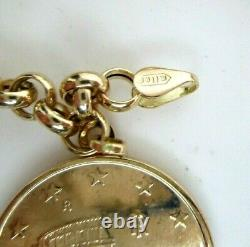 14K Yellow Gold Charm Bracelet with Gold Coin Charms