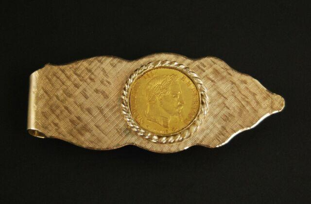 14k Yellow Gold Money Clip With 1856 Napoleon Iii Gold Coin (22k) 15.4g