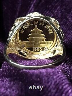 14k Gold Coin Ring with 1/20 troy oz. 999 FINE GOLD 1990 PANDA Sz7½