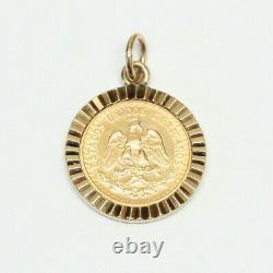 14k Solid Gold DOS PESOS Mexican Coin Pendant 14k Gold Bezel and Gold Coin