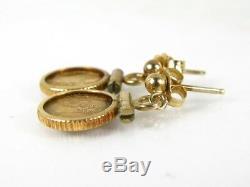 14k Yellow Gold 1865 Maximilian Emperador Mexican Mini Gold Coin Earrings 2.1g