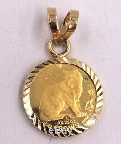 14k Yellow Gold Bezel Set 1/25ozt. 999 Fine Gold Canadian Crown Coin Pendant 2g