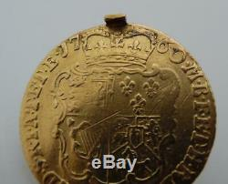 1760 George II guinea 22ct Gold Coin Mourning Hair Locket Fob Pendant BF27