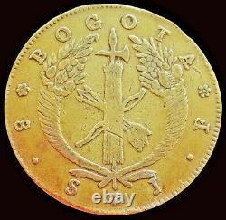 1825 Jf Gold Colombia 8 Escudos Coin Nuevo Reino Bogota Mint Very Fine