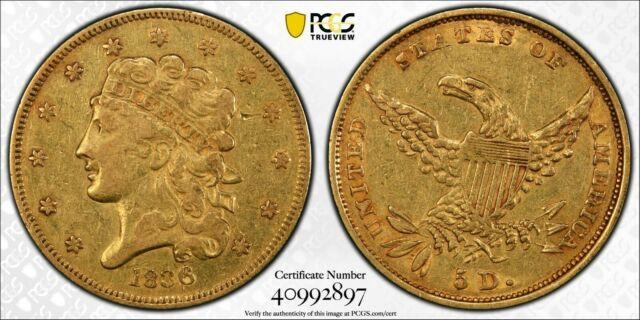 1836 Us $5 Classic Head Gold Coin Pcgs Very Fine Detail Pre-1933 Us Gold 2897