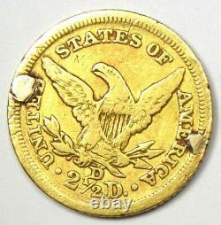 1845-D Liberty Gold Quarter Eagle $2.50 Fine Details (Damage) Dahlonega Coin
