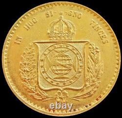 1851 Gold Brazil 20,000 Reis Pedro II Coin Extremely Fine Condition