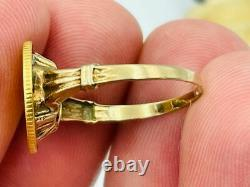 1853 $1 US Gold One Dollar Liberty Head Coin Ring
