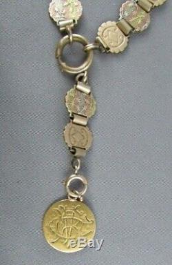 1857 Gold Coin Victorian AIE MEMENTO MORI Rose Gold Bookchain POCKET WATCH 42.5g