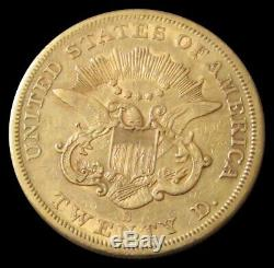 1858 S Gold $20 Dollar Liberty Head Type 1 Double Eagle Coin Extra Fine
