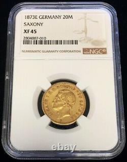 1873 E Gold German State Saxony 20 Mark Johann Coin Ngc Extremely Fine 45