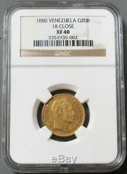 1880 Gold Venezuela 20 Bolivares Coin Ngc Extra Fine 40 Variety 18 Close