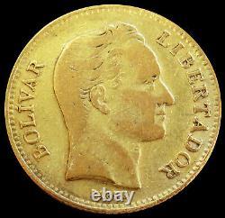1886 Gold Venezuela 20 Bolivares Coin Very Fine Condition