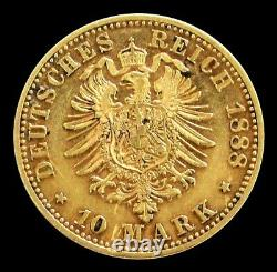 1888 A Gold German States Prussia 10 Mark Friedrich III Coinage Extra Fine