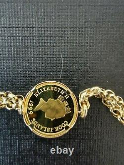 18ct Gold Bracelet Set With Fine Gold 4 Dollar Coin Royal Mint Dolphin