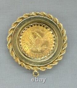 1900 $5 Dollar Gold Liberty Head Half Eagle Coin 14K Rope Bezel Pearl Pendant