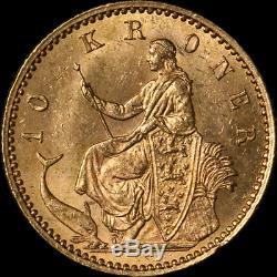 1900 Denmark 10 Kroner Gold Coin 0.1296oz AGW 0.900 Fine