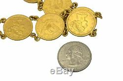 1900s Antique Estate 22k Gold Liberty Head $5 Gold Coin Gypsy Bracelet