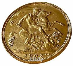 1902 Gold Full Sovereign Coin London Mint King Edward VII Collectible Very Fine