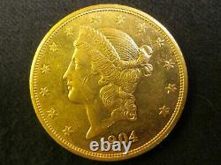 1904 $20 GOLD Liberty Double Eagle United States of America coin solid pure fine