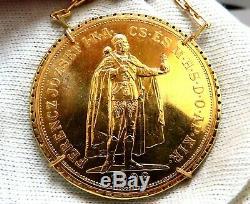 1908 Hungary 100 Korona Gold Coin Diamonds Necklace