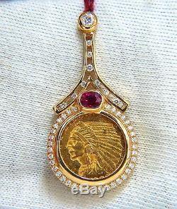 1909 $2.5 American BLP Coin Pendant Ruby & Diamonds 1.90ct