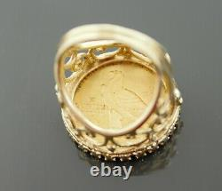 1909 Indian Head Half Eagle $5 Gold Coin in 14k Gold Ring Size 5 3/4