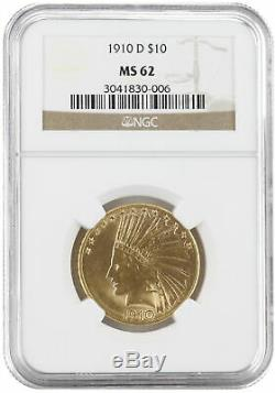 1910-D $10 Gold Indian Head Eagle MS62 NGC Brown. 900 fine gold