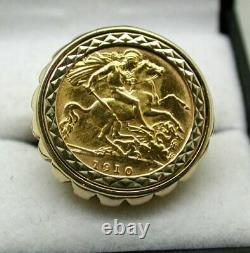 1910 Edwardian 22 Carat Gold Half Sovereign Coin In 9 Carat Ring Mount L. 1/2