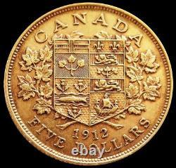 1912 Gold Canada $5 Dollar King George V Coin Choice Extra Fine