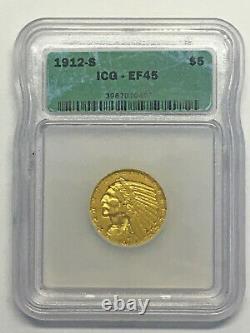 1912-S Gold Half Eagle, Choice Extra Fine Gold Coin ICG XF 45