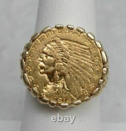 1914 GOLD 22K $2 1/2 INDIAN HEAD $2.5 COIN IN 14KT MENs PINKY RING SIZE 7